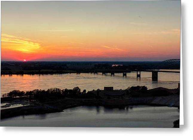 Arkansas Greeting Cards - Memphis Sunset on the Mississippi 002 Greeting Card by Lance Vaughn