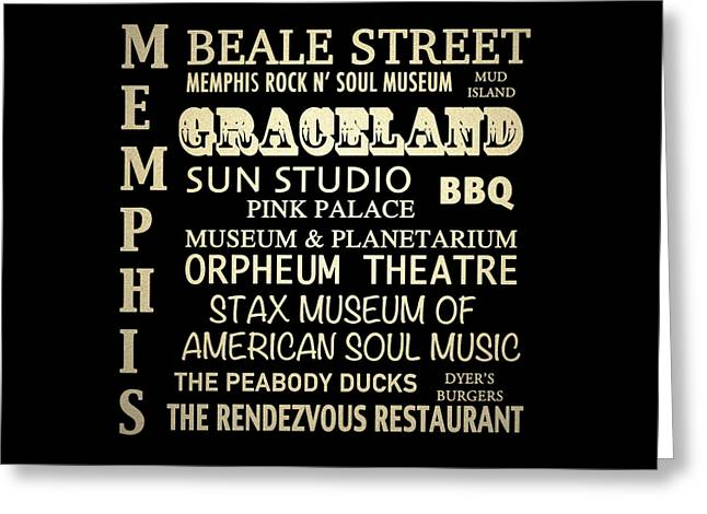 Art Of Soul Music Greeting Cards - Memphis Tennessee Famous Landmarks Greeting Card by Patricia Lintner
