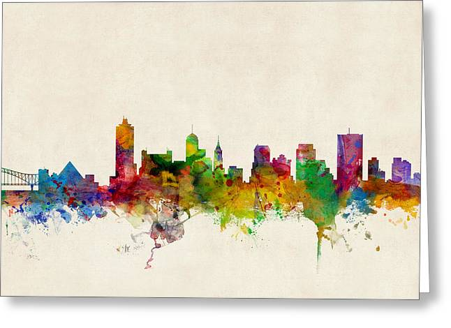 Cityscape Digital Art Greeting Cards - Memphis Tennessee Skyline Greeting Card by Michael Tompsett