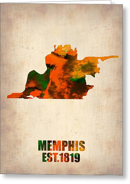 Midwest Greeting Cards - Memphis Watercolor Map Greeting Card by Naxart Studio