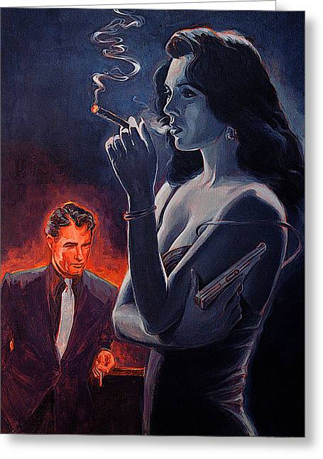 Woman With Black Hair Greeting Cards - Men and Cigars Were the Same To Zelda If You Got Em Smke Em Greeting Card by Shawn Shea