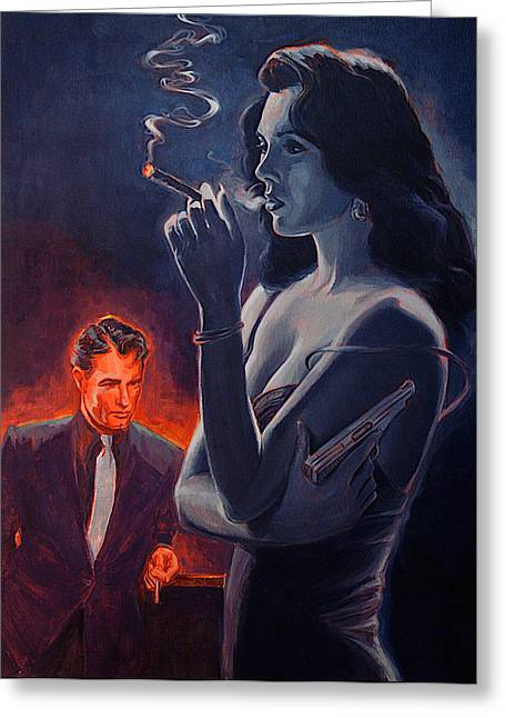 Woman With Black Hair Greeting Cards - Men and Cigars Were the same to Zelda If You Got Em Smoke Em Greeting Card by Shawn Shea