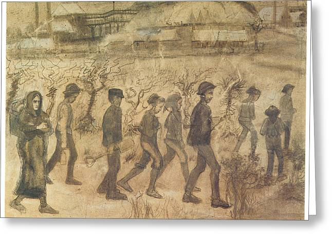 Work Place Drawings Greeting Cards - Men and Women Miners going to Work Greeting Card by Vincent van Gogh