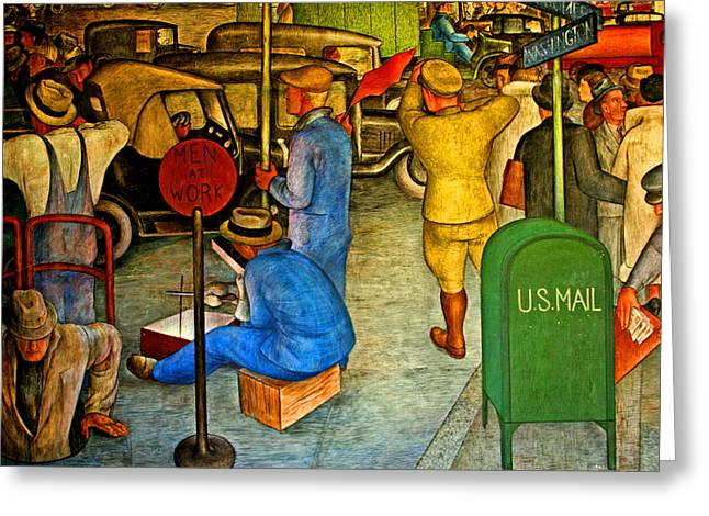 At Work Digital Art Greeting Cards - Men At Work Greeting Card by Joseph Coulombe