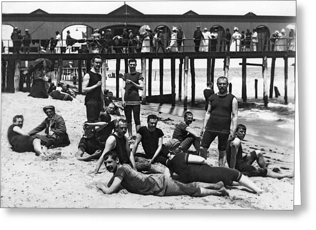 Men Bathers By The Boardwalk Greeting Card by Underwood Archives