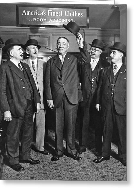 Men, Hats, And Cigars Greeting Card by Underwood Archives