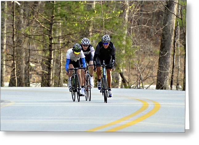 Men In A Bike Race Greeting Card by Susan Leggett