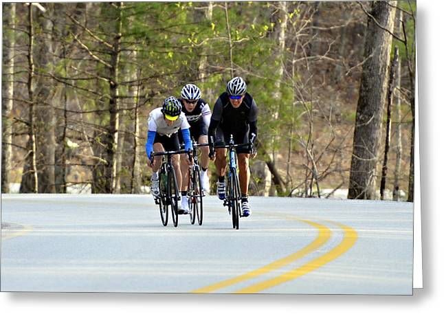 Men in a Bike Race Greeting Card by Susan Leggett