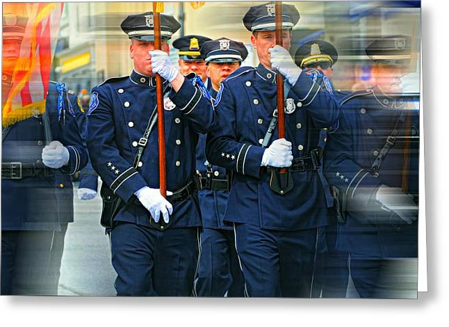 Men In Blue Greeting Card by Diana Angstadt