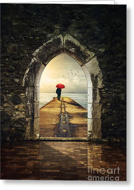 Surreal Landscape Photographs Greeting Cards - Men in Pier Greeting Card by Carlos Caetano