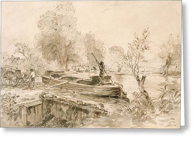 Wagon Drawings Greeting Cards - Men Loading A Barge On The Stour, 1827 Greeting Card by John Constable