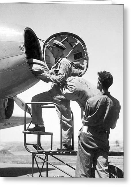 Men Loading Air Mail Bags Greeting Card by Underwood Archives