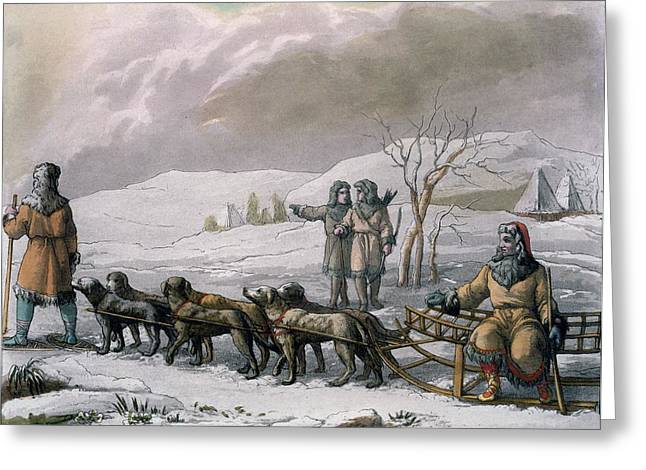 Sledge Greeting Cards - Men Of Kamchatska, With A Dog Sleigh Greeting Card by Italian School