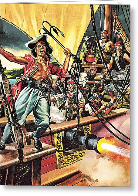 Pirate Ships Paintings Greeting Cards - Men of the Jolly Roger Greeting Card by Ron Embleton