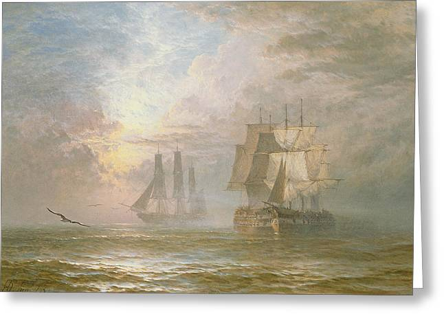 Wooden Ship Paintings Greeting Cards - Men of War at Anchor Greeting Card by Henry Thomas Dawson