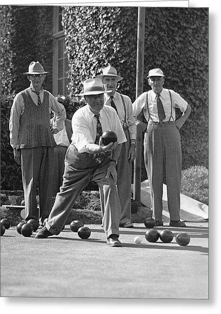 Men Playing Bocce Ball Greeting Card by Underwood Archives