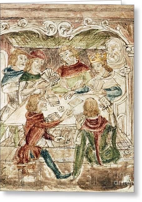 Sociology Greeting Cards - Men Playing Cards, 14th Century Greeting Card by British Library