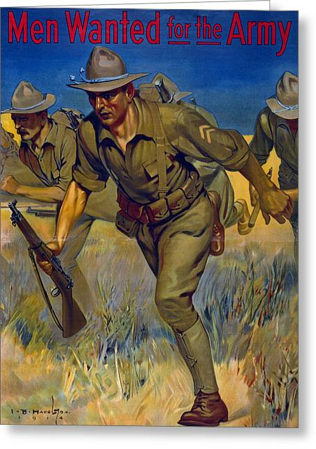 Poster Graphics Greeting Cards - Men Wanted For The Army Greeting Card by Isaac Brewster Hazelton