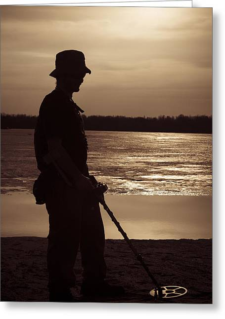 Little Boy Lost Greeting Cards - Men whit metal detector  Greeting Card by Joel  Bourgoin