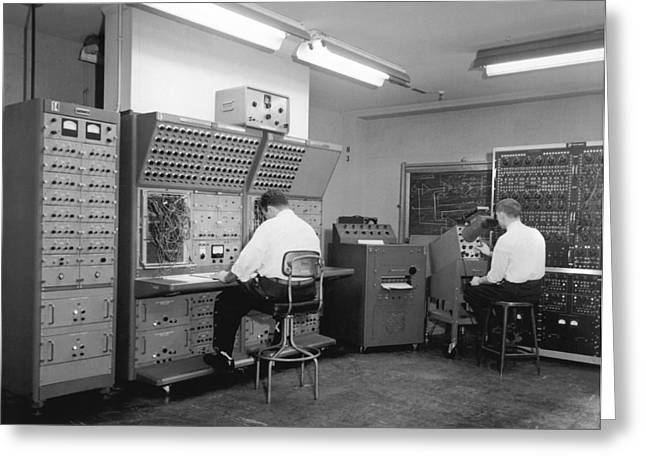 Only Mid Adult Men Greeting Cards - Men Working On Analog Computer Greeting Card by Underwood Archives