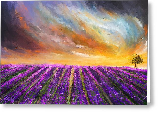 Green And Yellow Abstract Greeting Cards - Menacing Beauty - Lavender Fields Paintings Greeting Card by Lourry Legarde