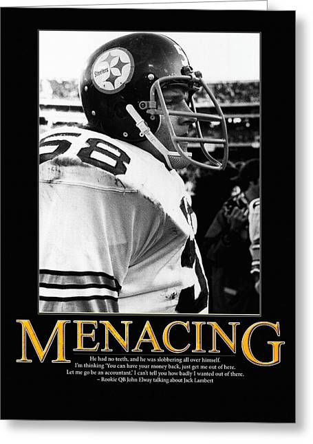 Elway Greeting Cards - Menacing Jack Lambert Greeting Card by Retro Images Archive
