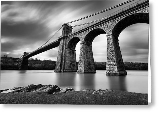 Monochrome Greeting Cards - Menai Suspension Bridge Greeting Card by Dave Bowman