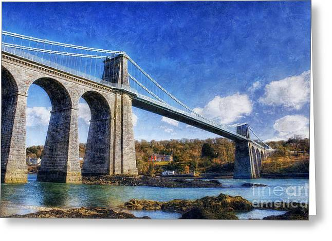 New Britain Greeting Cards - Menai Susupension Bridge Greeting Card by Ian Mitchell
