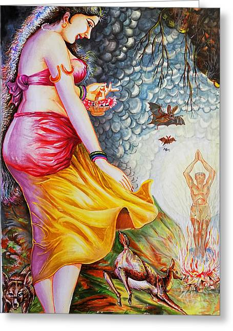 Hindu Goddess Greeting Cards - Menaka On Verge Of Breaking Vishwamitra Meditation Greeting Card by Arun Sivaprasad