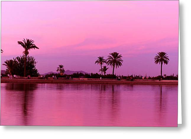 Reflecting Water Greeting Cards - Menara, Marrakech, Morocco Greeting Card by Panoramic Images
