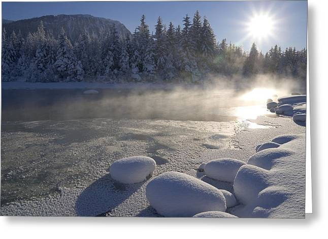 Juneau Park Greeting Cards - Mendenhall River Flowing Through Snow Greeting Card by John Hyde
