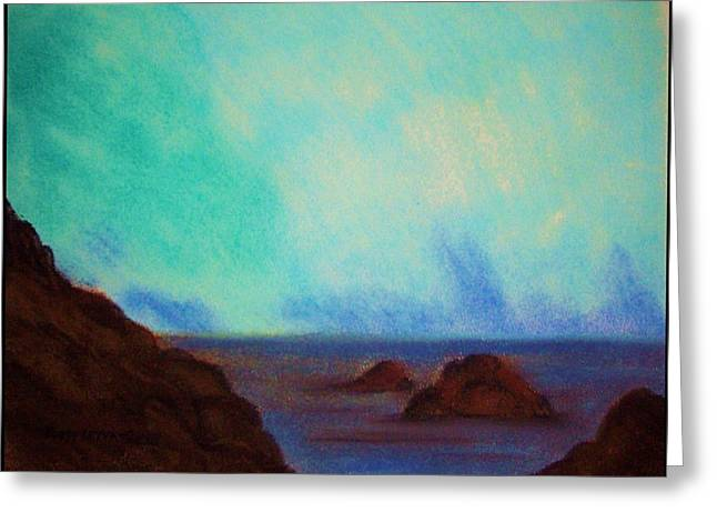 Brown Tones Pastels Greeting Cards - Mendocino Coastline Greeting Card by Peggy Leyva Conley