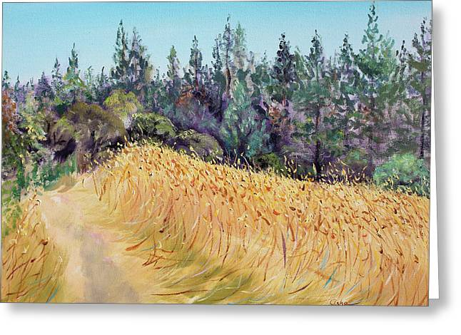 Olive Yellow Grass Greeting Cards - Mendocino High Grass Meadow at Susans Place in July Greeting Card by Asha Carolyn Young