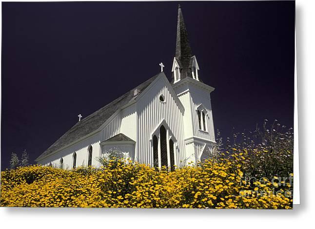 Mendocino Presbyterian Church Greeting Card by Ron Sanford