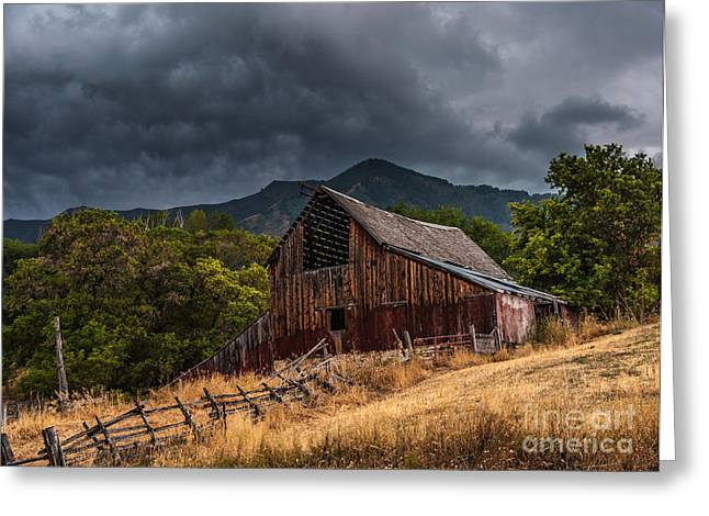 Red Buildings Greeting Cards - Mendon Utah Barn in Storm Greeting Card by Gary Whitton