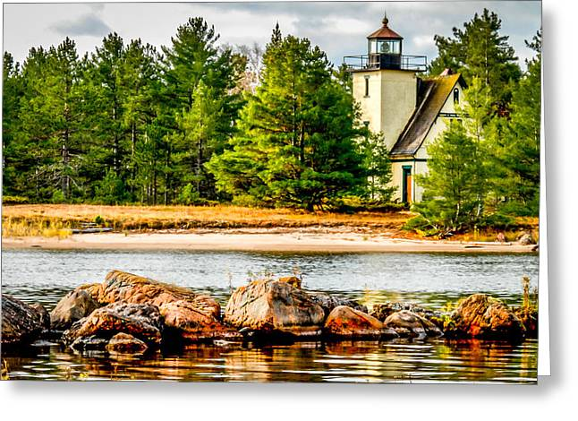 Lake Mendota Greeting Cards - Mendota Bete Grise Lighthouse Greeting Card by Optical Playground By MP Ray