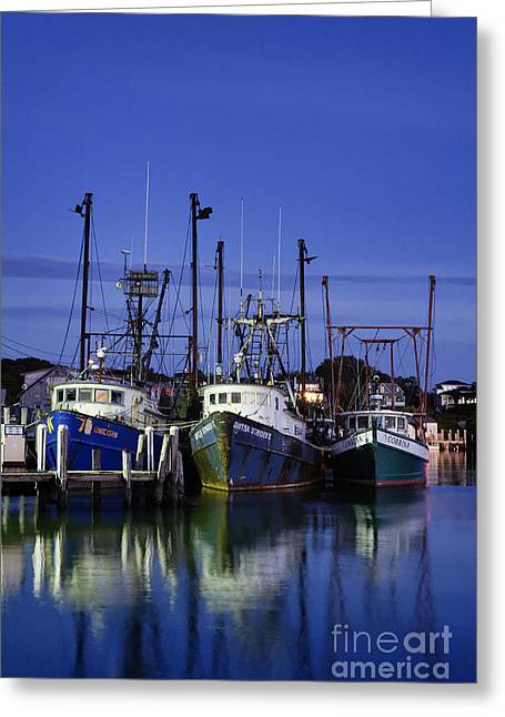 New England Village Greeting Cards - Menemsha Fishing Boats Greeting Card by John Greim