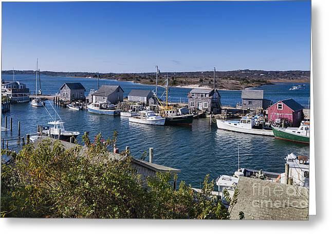 New England Village Greeting Cards - Menemsha Fishing Village Greeting Card by John Greim