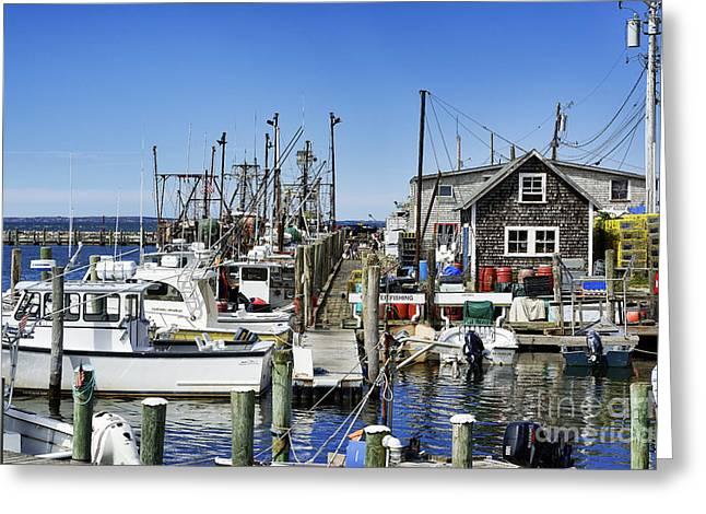 New England Village Greeting Cards - Menemsha Harbor Greeting Card by John Greim