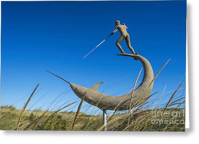 Swordfish Greeting Cards - Menemsha Harpooner Sculpture Greeting Card by John Greim