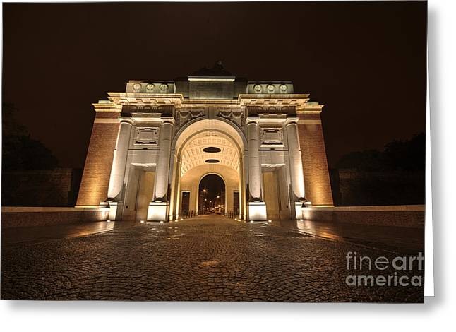 Ypres Greeting Cards - Menin Gate by NIght  Greeting Card by Rob Hawkins