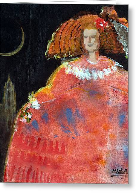 Ball Gown Greeting Cards - Menina And Cathedral Oil & Acrylic On Canvas Greeting Card by Marisa Leon