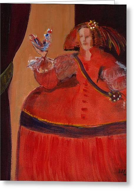 Ball Gown Greeting Cards - Menina In Red With Small Cockerel Oil & Acrylic On Canvas Greeting Card by Marisa Leon