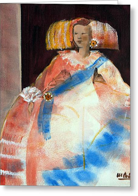 Ball Gown Greeting Cards - Menina With Sash And Flower Oil & Acrylic On Canvas Greeting Card by Marisa Leon