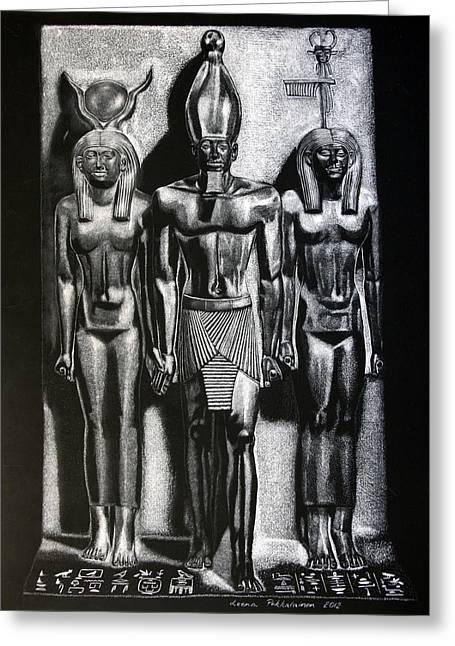 Hathor Paintings Greeting Cards - Menkaure Triad Greeting Card by Leena Pekkalainen