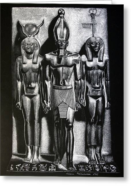 Hathor Greeting Cards - Menkaure Triad Greeting Card by Leena Pekkalainen