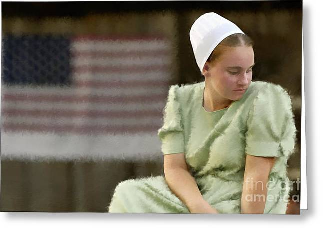 Teen Greeting Cards - Mennonite Girl - D004224d_P_T Greeting Card by Daniel Dempster