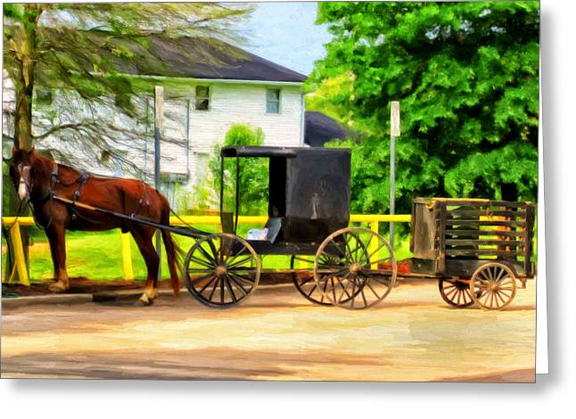 Amish Paintings Greeting Cards - Mennonite Horse and Buggy Greeting Card by Michael Pickett