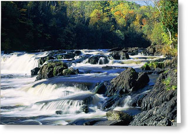 Upper Peninsula Greeting Cards - Menominee River Falling Into Piers Greeting Card by Panoramic Images