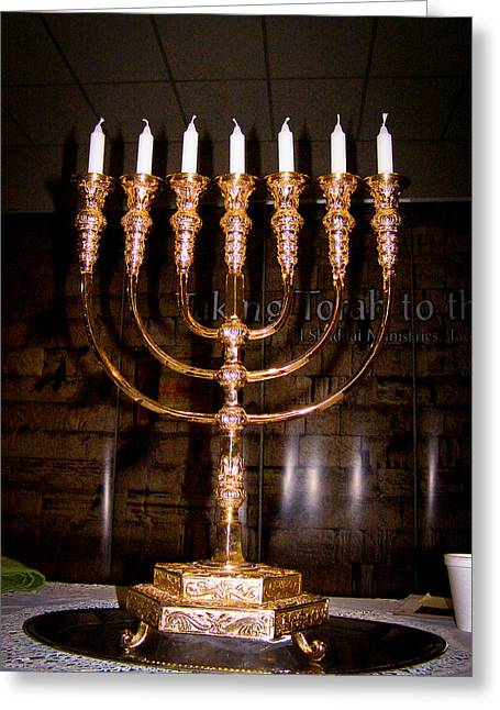 Candle Stand Photographs Greeting Cards - Menorah Greeting Card by Roger Reeves  and Terrie Heslop